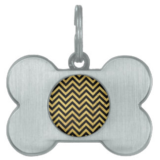 Black and Gold Foil Zigzag Stripes Chevron Pattern Pet Tag