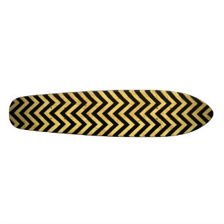 Black and Gold Foil Zigzag Stripes Chevron Pattern Skateboard Deck