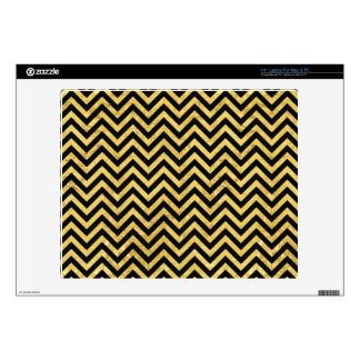 "Black and Gold Foil Zigzag Stripes Chevron Pattern Skin For 14"" Laptop"