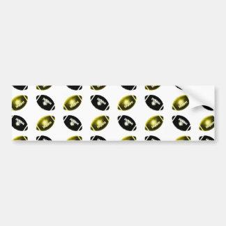 Black and Gold Football Pattern Car Bumper Sticker