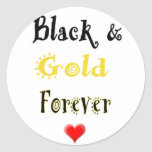 Black and Gold Forever Classic Round Sticker