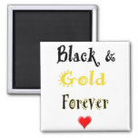 Black and Gold Forever Heart Magnet