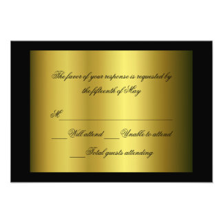 Black and gold Formal Response Card Personalized Invitation