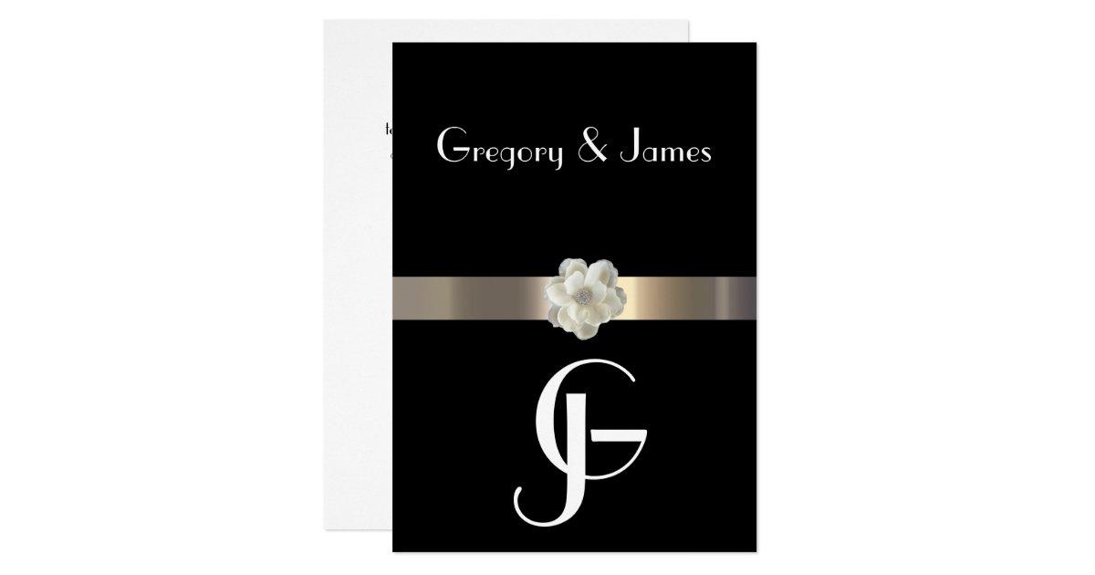 Lgbt Wedding Invitations: Black And Gold Gay/Lesbian Wedding Invitation