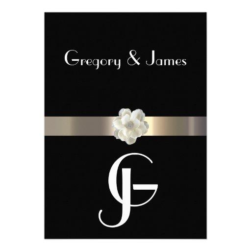 Black and Gold Gay/Lesbian Wedding Invitation