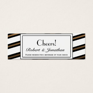 Black and Gold Gay Wedding Drink Tickets