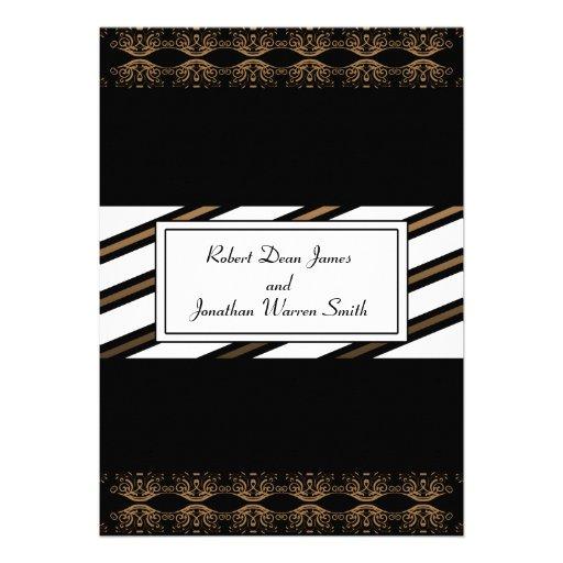 Black and Gold Gay Wedding Invitation