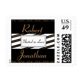 Black and Gold Gay Wedding Stamp