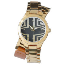 Black and Gold Geo Wristwatch