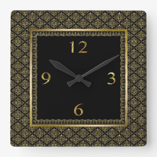 Black And Gold Geometric Pattern Damasks Square Wall Clock