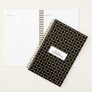 Black and Gold Geometric Pattern | Personalized Planner