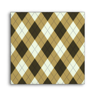 Black And Gold Geometric Stripes Argyle Pattern Envelope