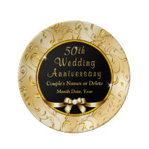 Black and Gold Gifts for 50th Wedding Anniversary Dinner Plate