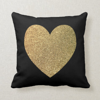 Black and Gold Giltter Photo Heart Throw Pillow