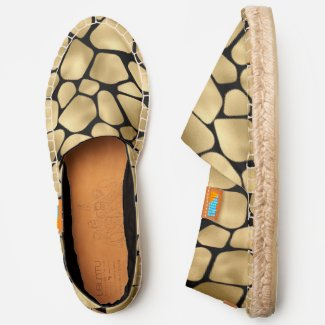 Black and Gold Giraffe Pattern Espadrilles
