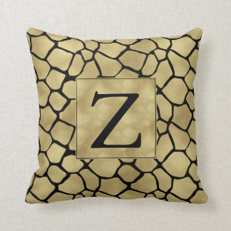 Black and Gold Giraffe Print Monogram Throw Pillow