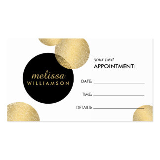 Black and Gold Glamour and Beauty Appointment Card Double-Sided Standard Business Cards (Pack Of 100)