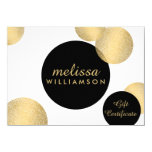 Black and Gold Glamour and Beauty Gift Certificate 4.5x6.25 Paper Invitation Card