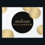 "Black and Gold Glamour and Beauty Yard Sign<br><div class=""desc"">Coordinates with the Black and Gold Glamour and Beauty Business Card Template by 1201AM. A motif of faux metallic gold and black circles creates an eye-catching design on this glamorous yard sign template. The design is repeated on the opposite side. Customize the text for your name or business name, or...</div>"