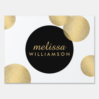 Black and Gold Glamour and Beauty Yard Sign