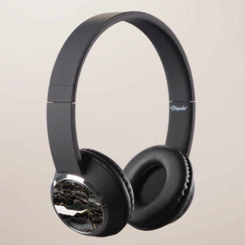 Black and Gold Glitter Agate Headphones