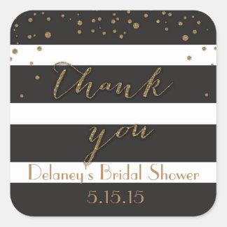 Black and Gold Glitter Bridal Shower Labels Square Sticker