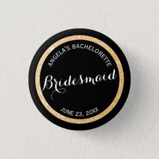 Black and Gold Glitter Bridesmaid Bachelorette Button