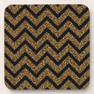 Black and Gold Glitter Chevron Stripes Pattern Beverage Coaster