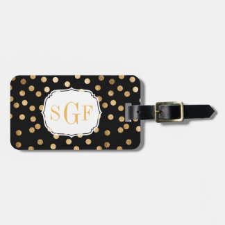 Black and Gold Glitter City Dots Monogram Bag Tag