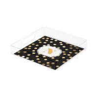 Black and Gold Glitter City Dots Monogram Tray