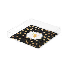 Black and Gold Glitter City Dots Monogram Tray