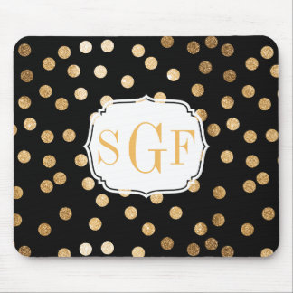 Black and Gold Glitter City Dots Mouse Pad
