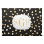Black and Gold Glitter City Dots Placemat Cloth Placemat