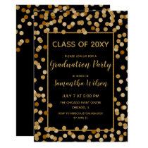 Black and Gold Glitter Confetti Graduation Party Card