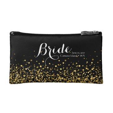 ericksondesigns Black and Gold Glitter Cosmetic Bag