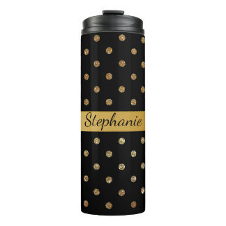 Black and Gold Glitter Dots Custom Thermal Tumbler