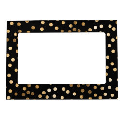 Black and Gold Glitter Dots Magnetic Photo Frame
