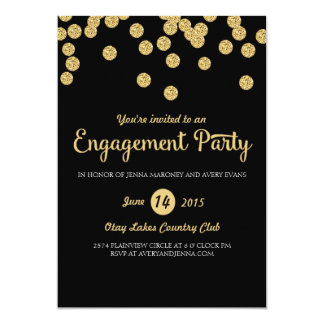 Black and Gold Glitter Engagement Party Invitation