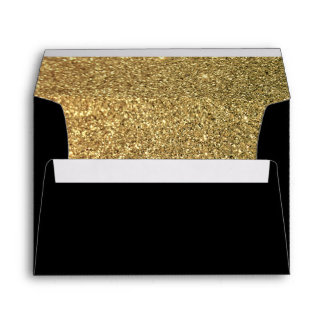 Black and Gold Glitter Envelope