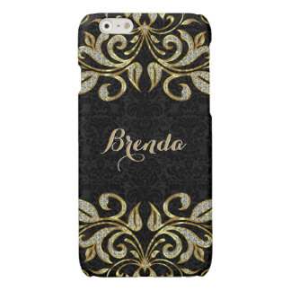 Black And Gold Glitter Floral Swirls Glossy iPhone 6 Case