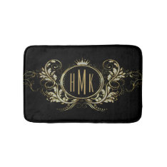 Black And Gold Glitter Girly Floral Frame Bath Mat at Zazzle