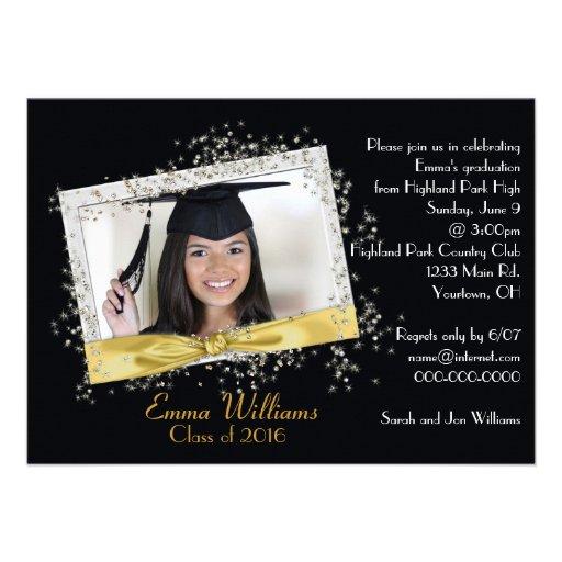Black and Gold Glitter Graduation Invitation