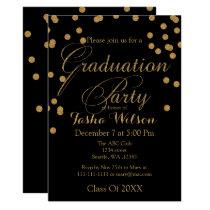 Black and Gold Glitter Graduation Invite