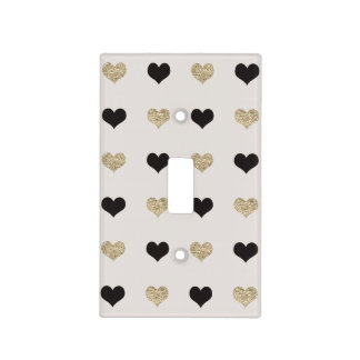 Black and Gold Glitter Hearts Light Switch Cover