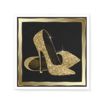 Black and Gold Glitter High Heel Napkin