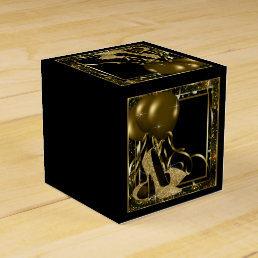 Black and Gold Glitter High Heel Shoe Favor Box