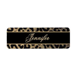 Black and Gold Glitter Label