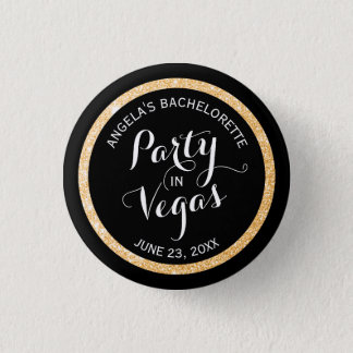 Black and Gold Glitter Party in Vegas Custom Button