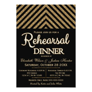 black and gold glitter rehearsal dinner invites
