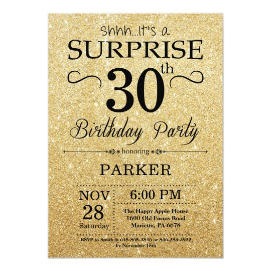 Black And Gold Glitter Surprise 30th Birthday Invitation